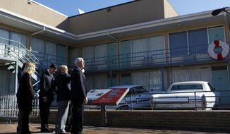 Vice President Mike Pence takes a tour of the National Civil Rights Museum at the Lorraine Motel, where Rev. Martin Luther King Jr. was fatally shot on April 4, 1968, in Memphis Sunday, Jan. 19, 2020. (Joe Rondone/The Commercial Appeal via AP)