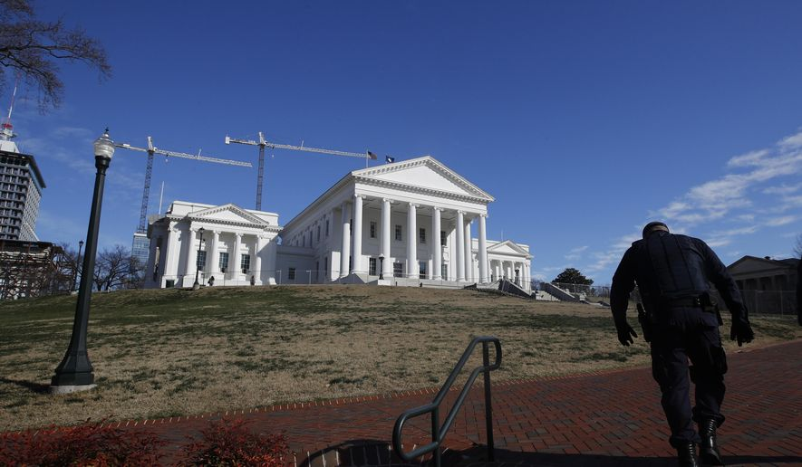 The Virginia Capitol in Richmond is shown here in this Jan. 19, 2020 file photo.  (AP Photo/Steve Helber) **FILE**