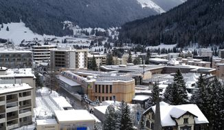 The Davos Congress Centre is prepared for the World Economic Forum in Davos, Switzerland, Sunday, Jan. 19, 2020. The 50th annual meeting of the forum will take place in Davos from Jan. 20 until Jan. 24, 2020. (AP Photo/Markus Schreiber)