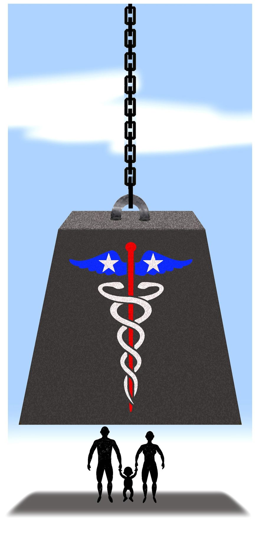 Illustration on Medicare for All by Alexander Hunter/The Washington Times