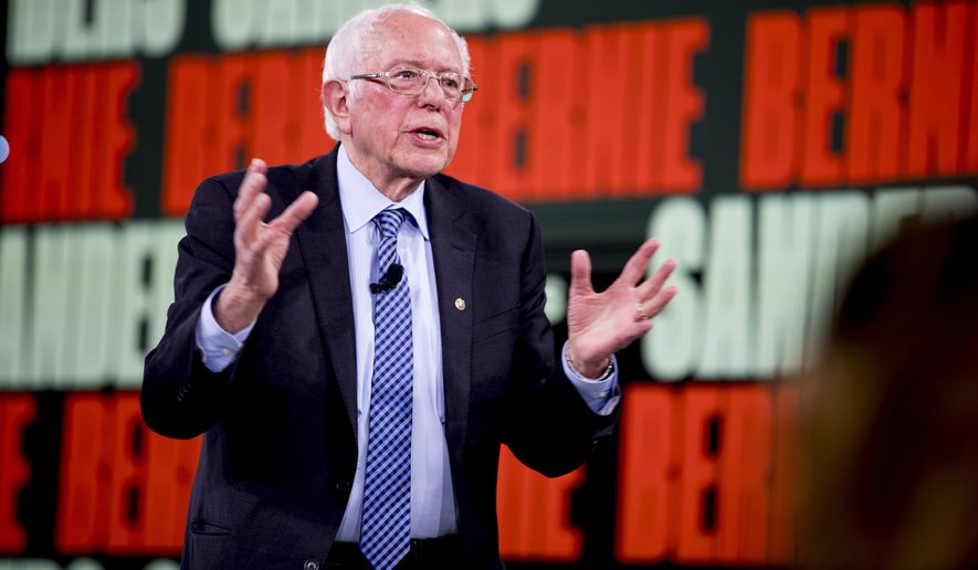 Democratic presidential candidate Sen. Bernie Sanders, I-Vt., speaks at the Brown & Black Forum at the Iowa Events Center, Monday, Jan. 20, 2020, in Des Moines, Iowa. (AP Photo/Andrew Harnik)