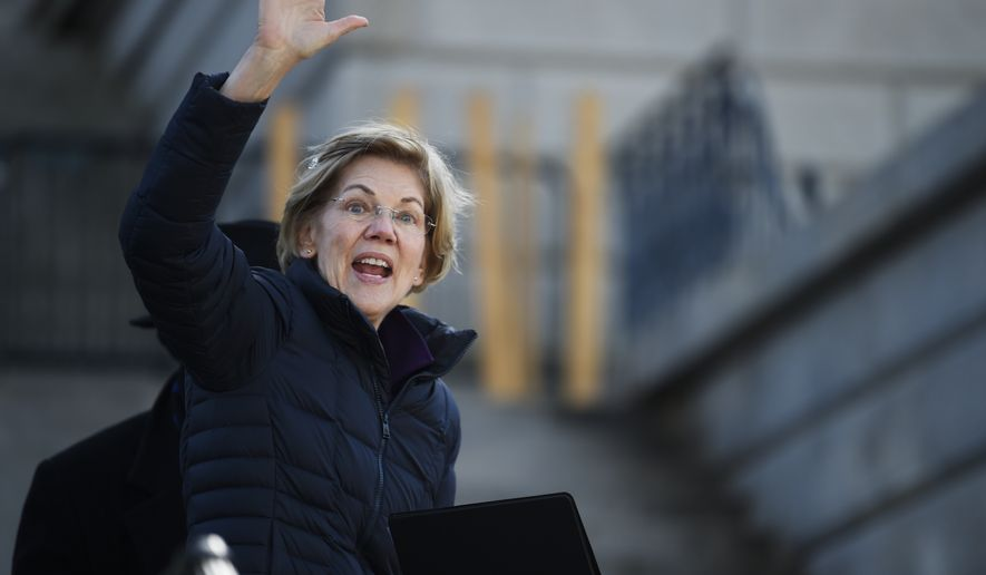 Democratic presidential hopeful Elizabeth Warren departs the stage after speaking at a Martin Luther King Jr. Day rally on Monday, Jan. 20, 2020, in Columbia, S.C. (AP Photo/Meg Kinnard)