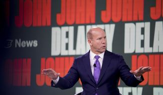 Democratic presidential candidate former Maryland Rep. John Delaney speaks at the Brown & Black Forum at the Iowa Events Center, Monday, Jan. 20, 2020, in Des Moines, Iowa. (AP Photo/Andrew Harnik)