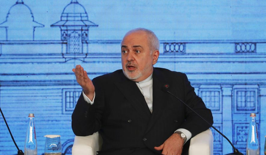Iranian Foreign Minister Mohammad Javad Zarif speaks at the Raisina Dialogue 2020 in New Delhi, India, Wednesday, Jan. 15, 2020. Zarif is in the country on a three-day visit. (AP Photo/Manish Swarup)