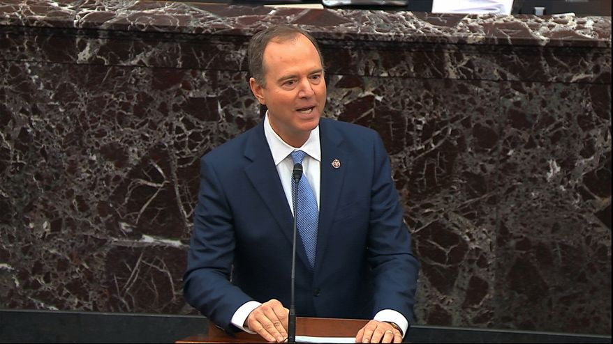 Impeachment manager Adam B. Schiff condemned the Senate on Tuesday for not issuing subpoenas he and his House colleagues refused to issue and lectured senators for not calling witnesses he himself had refused to call. (Associated Press)