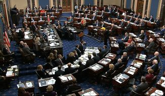 In this image from video, the Senate votes on an amendment offered by Senate Minority Leader Chuck Schumer, D-N.Y., in the impeachment trial against President Donald Trump in the Senate at the U.S. Capitol in Washington, Tuesday, Jan. 21, 2020. (Senate Television via AP)