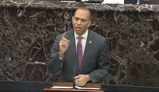 In this image from video, impeachment manager Rep. Hakeem Jeffries, D-N.Y., speaks in favor of a amendment by Senate Minority Leader Chuck Schumer, D-N.Y., during the impeachment trial against President Donald Trump in the Senate at the U.S. Capitol in Washington, Tuesday, Jan. 21, 2020. (Senate Television via AP)