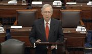 In this image from video, Senate Majority Leader Mitch McConnell, R-Ky., speaks before the impeachment trial against President Donald Trump begins in the Senate at the U.S. Capitol in Washington, Tuesday, Jan. 21, 2020. (Senate Television via AP)