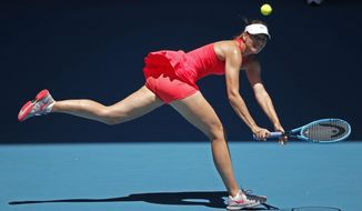 Russia's Maria Sharapova makes a backhand return to Croatia's Donna Vekic during their first round singles match at the Australian Open tennis championship in Melbourne, Australia, Tuesday, Jan. 21, 2020. (AP Photo/Lee Jin-man) ** FILE **