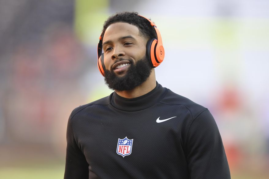 FILE - In this Dec. 22, 2019, file photo, Cleveland Browns wide receiver Odell Beckham Jr. reacts before an NFL football game against the Baltimore Ravens, in Cleveland. A misdemeanor simple battery warrant has been issued for Cleveland Browns wide receiver and former LSU star Odell Beckham Jr., police in New Orleans said Thursday, Jan. 16, 2020. The warrant comes as video posted on social media appears to show Beckham swatting a security officer's buttocks during LSU's locker room victory celebration after Monday night's college national championship game in the Superdome. (AP Photo/David Richard) ** FILE **