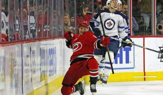 Carolina Hurricanes' Martin Necas (88), of the Czech Republic, celebrates his goal against the Winnipeg Jets during the first period of an NHL hockey game in Raleigh, N.C., Tuesday, Jan. 21, 2020. (AP Photo/Karl B DeBlaker)