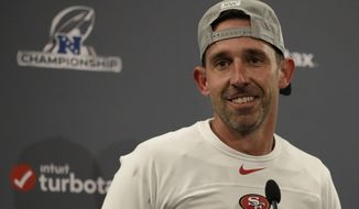San Francisco 49ers head coach Kyle Shanahan speaks at a news conference after the NFL NFC Championship football game against the Green Bay Packers Sunday, Jan. 19, 2020, in Santa Clara, Calif. The 49ers won 37-20 to advance to Super Bowl 54 against the Kansas City Chiefs. (AP Photo/Ben Margot)
