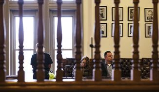 Derek Johnson and his attorney sit in the juror's box in the Pitkin County District Courtroom during his sentencing hearing in Aspen, Colo. on Tuesday, Jan. 21, 2020. Johnson was given 6 years in prison for stealing and selling equipment from Aspen Skiing Company. (Kelsey Brunner/The Aspen Times via AP)