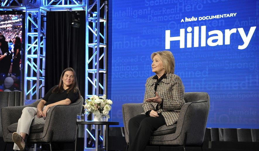 Hillary Clinton participates a panel during the Winter 2020 Television Critics Association Press Tour (Photo by Richard Shotwell/Invision/AP)
