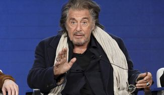 "Al Pacino speaks at the ""Hunters"" panel during the Amazon TCA 2020 Winter Press Tour at the Langham Huntington on Tuesday, Jan. 14, 2020, in Pasadena, Calif. (Photo by Willy Sanjuan/Invision/AP)"