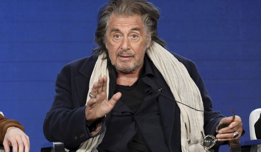 """Al Pacino speaks at the """"Hunters"""" panel during the Amazon TCA 2020 Winter Press Tour at the Langham Huntington on Tuesday, Jan. 14, 2020, in Pasadena, Calif. (Photo by Willy Sanjuan/Invision/AP)"""