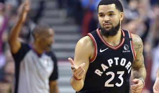 Toronto Raptors guard Fred VanVleet (23) reacts after hitting a three-pointer during the second half of an NBA basketball game against the Philadelphia 76ers, Wednesday, Jan. 22, 2020 in Toronto. (Nathan Denette/The Canadian Press via AP)