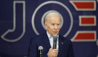 Democratic presidential candidate former Vice President Joe Biden speaks during a campaign event at the North Iowa Events Center, Wednesday, Jan. 22, 2020, in Mason City, Iowa. (AP Photo/John Locher)