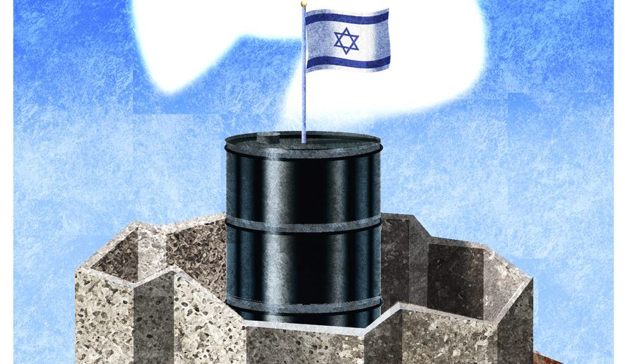 Illustration on Israeli security by Alexander Hunter/The Washington Times