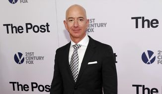 """In this Dec. 14, 2017, file photo, Jeff Bezos attends the premiere of """"The Post"""" at The Newseum in Washington. United Nations experts on Wednesday, Jan. 22, 2020, have called for """"immediate investigation"""" by the United States into information they received that suggests that Jeff Bezos' phone was hacked after receiving a file sent from Saudi Crown Prince Mohammed bin Salman's WhatsApp account. (Photo by Brent N. Clarke/Invision/AP, File)"""