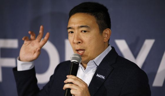 Democratic presidential candidate entrepreneur Andrew Yang speaks at a campaign event at a bar Wednesday, Jan. 22, 2020, in Waukon, Iowa. (AP Photo/John Locher)