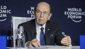 Wilbur Louis Ross, U.S. Secretary of Commerce, addresses a press conference during the 50th annual meeting of the World Economic Forum, WEF, in Davos, Switzerland, Wednesday, Jan. 22, 2020. (Alessandro della Valle/Keystone via AP)