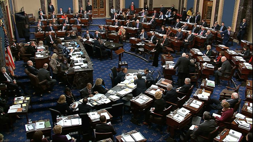 In this image from video, Senators vote to table an amendment by Senate Minority Leader Chuck Schumer, D-N.Y., during the impeachment trial against President Donald Trump in the Senate at the U.S. Capitol in Washington, Wednesday, Jan. 22, 2020. (Senate Television via AP)
