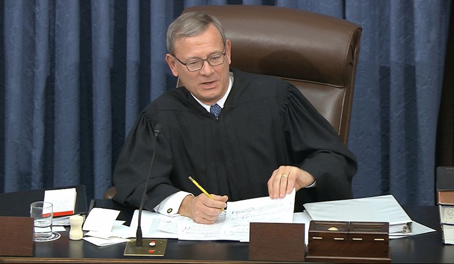In this image from video, presiding officer Supreme Court Chief Justice John Roberts speaks during the impeachment trial against President Donald Trump in the Senate at the U.S. Capitol in Washington, Wednesday, Jan. 22, 2020. (Senate Television via AP)