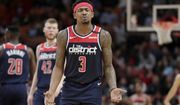 Washington Wizards guard Bradley Beal (3) reacts after being called for a foul during the first half of an NBA basketball game against the Miami Heat, Wednesday, Jan. 22, 2020, in Miami. The Heat won 134-129 in overtime. (AP Photo/Lynne Sladky)