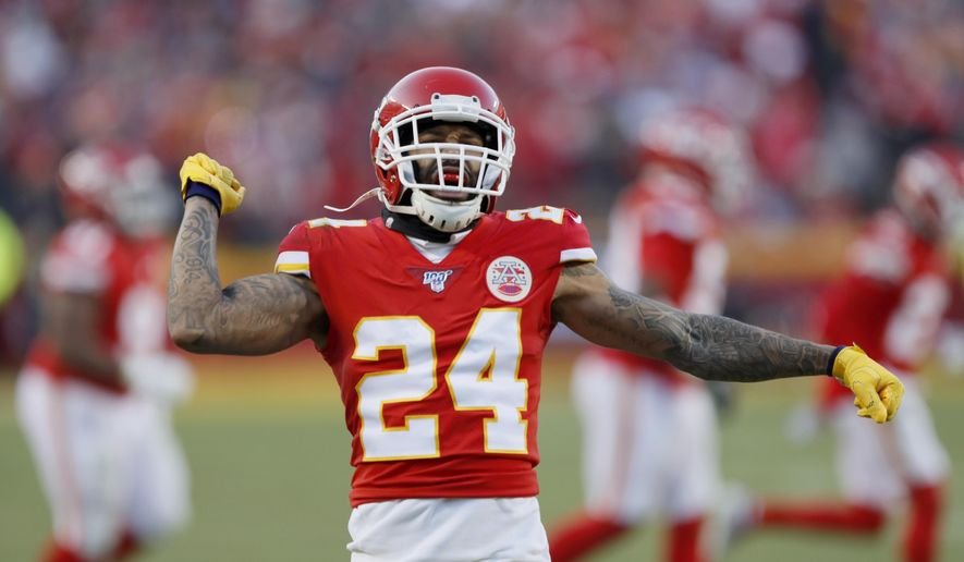 Kansas City Chiefs' Jordan Lucas reacts to a kick off stop during the second half of the NFL AFC Championship football game against the Tennessee Titans Sunday, Jan. 19, 2020, in Kansas City, MO. (AP Photo/Charlie Neibergall) **FILE**