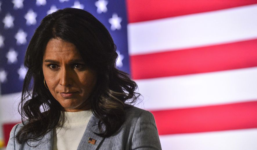 Democratic presidential candidate U.S. Rep. Tulsi Gabbard, of Hawaii, hosts a town hall meeting at the Keene Public Library, Tuesday, Jan. 21, 2020, in Keene, N.H. (Kristopher Radder/The Brattleboro Reformer via AP) ** FILE **