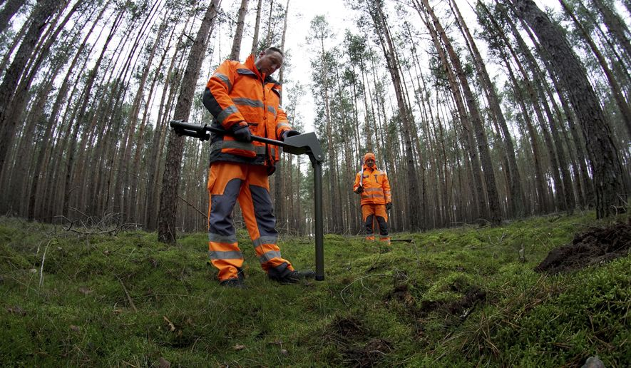 In this Wednesday, Jan. 8, 2020 photo members of a bomb disposal team search for World War II munition at the site of the planned new Tesla Gigafactory in Gruenheide near Berlin, Germany. Tesla CEO Elon Musk said during an awards ceremony in Berlin in November 2019 that 'we have decided to put the Tesla Gigafactory Europe in the Berlin area.' The company will also set up an engineering and design center in Berlin, Musk said. He wrote on Twitter that the new plant 'will build batteries, powertrains & vehicles, starting with Model Y.' (AP Photo/Michael Sohn)