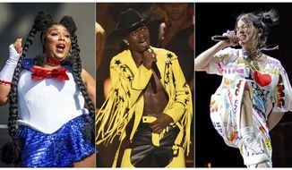 """This combination of photos shows, from left, Lizzo performing at the Voodoo Music Experience in New Orleans on Oct. 27, 2018, Lil Nas X performing """"Old Town Road"""" at the BET Awards in Los Angeles on June 23, 2019 and Billie Eilish performing during the """"When We All Fall Asleep"""" tour in Chicago on June 9, 2019. Lizzo, Eilish and Lil Nas X lead in nominations at the 2020 Grammy Awards. (AP Photo)"""