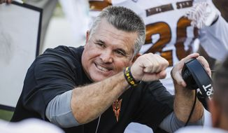 FILE - In this Saturday, Oct. 29, 2016, file photo, then-Arizona State head coach Todd Graham coaches on the sidelines against Oregon in an NCAA college football game, in Eugene, Ore. Hawaii hired former Arizona State coach Todd Graham on Tuesday, Jan. 21, 2020, to lead their football program. (AP Photo/Thomas Boyd, File)