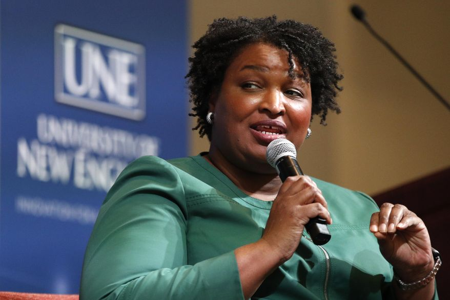 Stacey Abrams, a Georgia Democrat who has launched a multimillion-dollar effort to combat voter suppression, speaks at the University of New England, Wednesday, Jan. 22, 2020 in Portland, Maine. Abrams was a Georgia state legislator who became the first black woman to win a major party gubernatorial nomination in U.S. history. (AP Photo/Robert F. Bukaty)