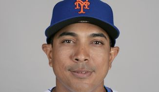 This is a 2019 photo showing Luis Rojas of the New York Mets baseball team. The New York Mets are finalizing a multiyear agreement with quality control coach Luis Rojas to make him the team's new manager, general manager Brodie Van Wagenen said Wednesday, Jan. 22, 2020. Rojas would replace Carlos Beltrán, who left the team last week before managing a single game as part of the fallout from the Houston Astros' sign-stealing scandal. (AP Photo/John Raoux, File)  **FILE**