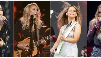 "This combination of photos shows country music singers, from left, Kacey Musgraves performing at the Austin City Limits Music Festival in Austin, Texas on Oct. 6, 2019, Miranda Lambert performing at the 53rd annual Academy of Country Music Awards in Las Vegas on April 15, 2018, Maren Morris performing at the Bonnaroo Music and Arts Festival in Manchester, Tenn. on June 15, 2019 and Carrie Underwood performing during her ""Cry Pretty Tour 360"" in Chicago on Oct. 29, 2019. What started as a joke on Twitter about an unwritten rule among country radio stations not to play two female artists in a row prompted outrage by country music stars, but also pledges to give women equal airtime.  (AP Photo)"