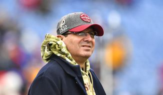 In this Nov. 3, 2019 file photo, Washington Redskins owner Daniel Snyder is shown before an NFL football game against the Buffalo Bills in Orchard Park, N.Y.   (AP Photo/Adrian Kraus, File) **FILE**