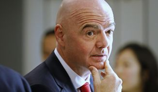 FIFA President Gianni Infantino attends the World Economic Forum in Davos, Switzerland, Tuesday, Jan. 21, 2020. The 50th annual meeting of the forum will take place in Davos from Jan. 21 until Jan. 24, 2020. (AP Photo/Markus Schreiber)