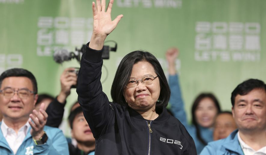 In this Jan. 11, 2020, file photo, Taiwanese President Tsai Ing-wen celebrates her victory with supporters in Taipei, Taiwan. (AP Photo/Chiang Ying-ying, File)