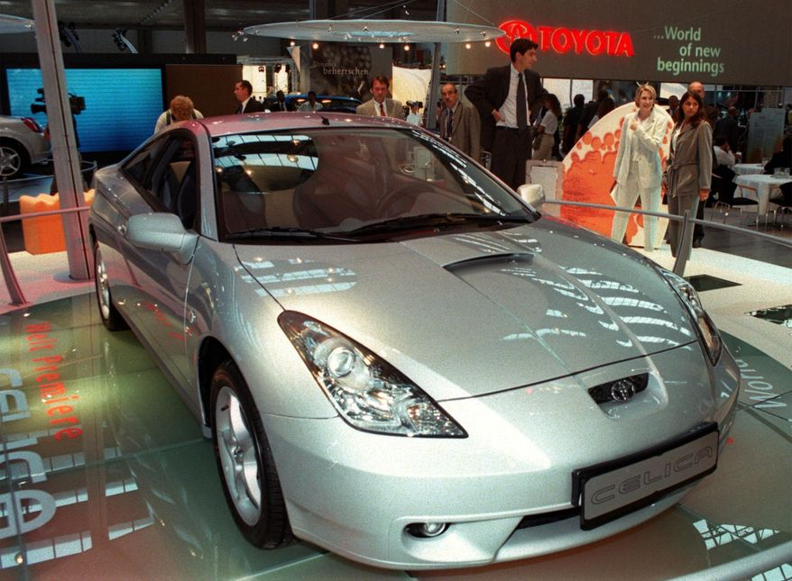 In this Sept. 14, 1999, file photo, Japanese car builder Toyota displays its latest version of the Celica at the Frankfurt international car fair, IAA. (AP Photo/Bernd Kammerer, File)