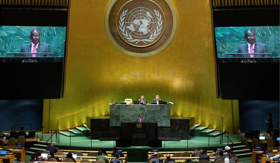 Solomon Islands' Foreign Minister Jeremiah Manele addresses the 74th session of the United Nations General Assembly at U.N. headquarters Friday, Sept. 27, 2019, in New York. (AP Photo/Kevin Hagen).