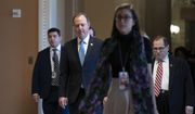 House Intelligence Committee Chairman Adam Schiff, D-Calif., the lead House Democratic impeachment manager, left, and House Judiciary Committee Chairman Jerrold Nadler, D-N.Y., right, arrive for the start of the third day of the trial of President Donald Trump on charges of abuse of power and obstruction of Congress, at the Capitol in Washington, Thursday, Jan. 23, 2020. (AP Photo/J. Scott Applewhite)