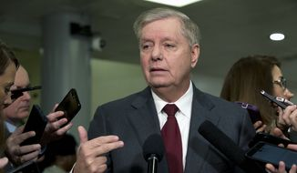 Sen. Lindsey Graham, R-S.C., speaks to the media before attending the impeachment trial of President Donald Trump, Thursday, Jan. 23, 2020, on Capitol Hill in Washington. (AP Photo/Jose Luis Magana) ** FILE **