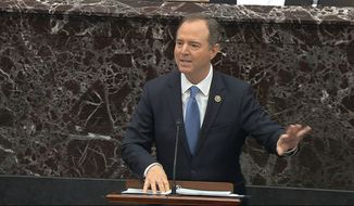 In this image from video, House impeachment manager Rep. Adam Schiff, D-Calif., speaks during the impeachment trial against President Donald Trump in the Senate at the U.S. Capitol in Washington, Thursday, Jan. 23, 2020. (Senate Television via AP)