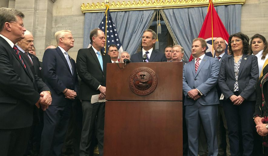 Tennessee Gov. Bill Lee, center, and fellow Republicans in the state General Assembly hold a news conference at the Tennessee Capitol on Thursday, Jan. 23, 2020, in Nashville,Tenn.,  to discuss a new anti-abortion proposal. (AP Photo/Jonathan Mattise)