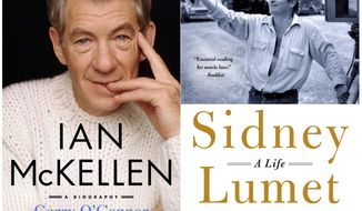 "This combination photo of cover images released by St. Martin's Press shows ""Ian McKellen: A Biography"" by Garry O'Connor, left, and Sidney Lumet: A Life"" by Maura Spiegel. (St. Martin's Press via AP)"