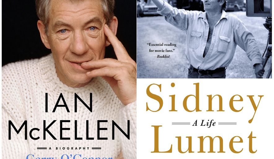 """This combination photo of cover images released by St. Martin's Press shows """"Ian McKellen: A Biography"""" by Garry O'Connor, left, and Sidney Lumet: A Life"""" by Maura Spiegel. (St. Martin's Press via AP)"""
