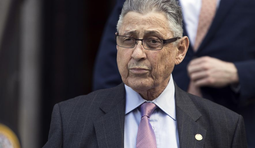FILE - In this May 11, 2018 file photo, former New York Assembly Speaker Sheldon Silver leaves federal court in New York. A federal appeals court upheld former Silver's corruption conviction Tuesday, Jan. 21, 2020, but ordered a resentencing after reversing the conviction on some charges. On Tuesday, the 2nd Circuit tossed out charges related to legal fees Silver collected to refer mesothelioma cases to a law firm. (AP Photo/Mary Altaffer, File)