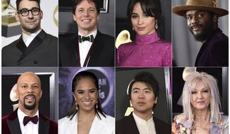 """This combination of photos shows, top row from left, Jack Antonoff, Joshua Bell, Camila Cabello, Gary Clark Jr., bottom row from left, Common, ballerina Misty Copeland, Lang Land and Cyndi Lauper who will perform """"I Sing The Body Electric"""" along with John Legend and War and Treaty at the Grammy Awards on Sunday. (AP Photo)"""